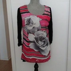 Style & Co. Rose Black Red Blouse NWTSmall